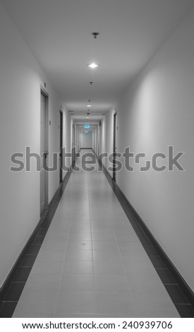 Long corridor in the dorm or apartment