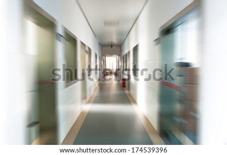 long corridor in the hospital. - stock photo