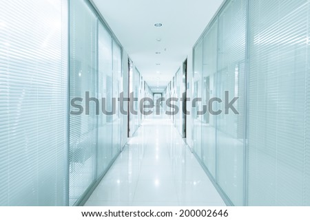 long corridor, modern building interiors - stock photo