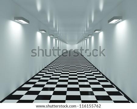 Long corridor with a tiles on a floor - stock photo