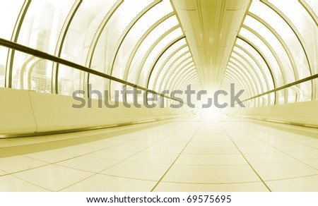 long corridor with the light in the end - stock photo