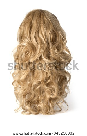 long curly blond wig on a white background - stock photo