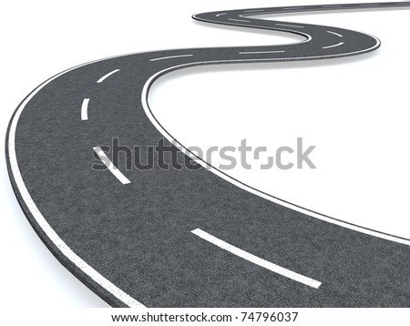 Long curved road - stock photo