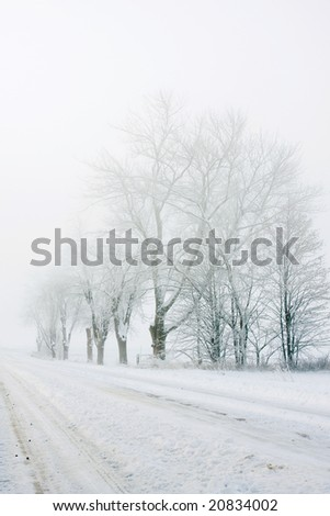 long desolate road on a foggy snow covered morning - stock photo