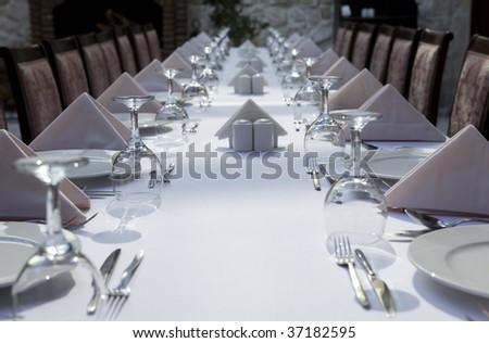 long dinner table - stock photo