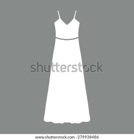 long Dress, Evening dress or sundress with belt , the silhouette. Menu item in the web design - stock photo