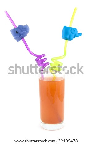 Long drink glass with funny straws isolated on white background