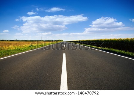 Long empty rural road in the summer - stock photo