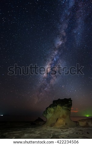 Long exposed milkyway galaxy. Image contain grain, soft focus and blur.