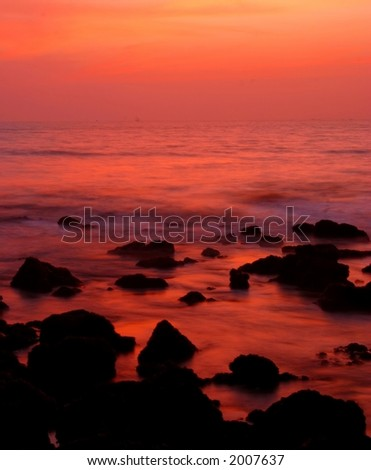 long exposure after sunset (goa, India) #3. - stock photo