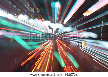 long exposure and zooming to achieve light rush effect of london street