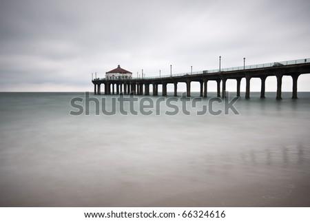Long Exposure at the Manhattan Beach Pier - stock photo