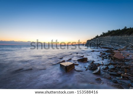 Long Exposure image of Landscape view on sunset in Black sea Russia