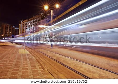 Long exposure light rail at Karakoy - Istanbul - stock photo
