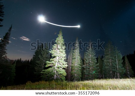 Long Exposure Night Photography with camera motion - stock photo