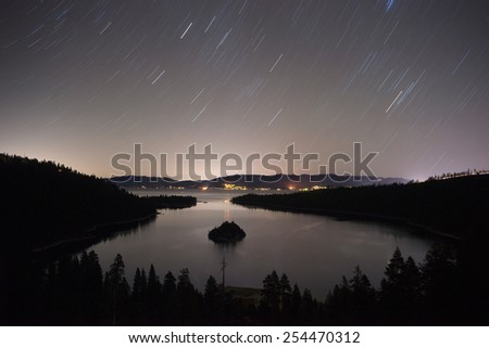 Long Exposure Night Sky Emerald Bay Fannette Island Lake Tahoe - stock photo