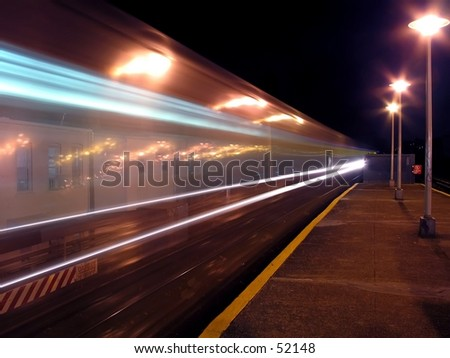Long Exposure of A NYC Subway Train. - stock photo