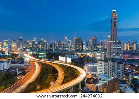 Long exposure of Bangkok Expressway during twilight  - stock photo