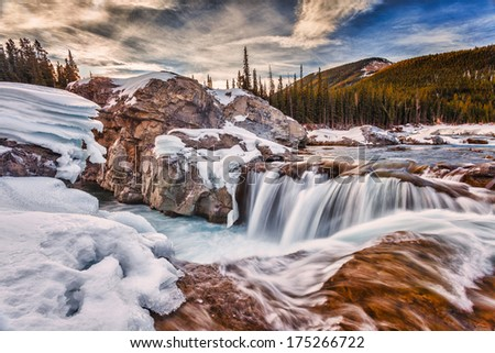 Long exposure of Elbow Falls, Kananaskis, Alberta Canada - stock photo