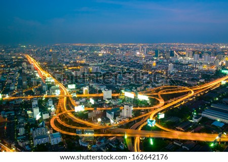 Long exposure of Express way in Bangkok city at twilight - stock photo