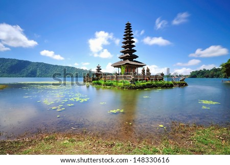 Long Exposure of Floating Temple in Lake Bedugul, Bali Indoneia - stock photo