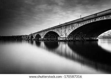 Long exposure of the Arlington Memorial Bridge, in Washington, DC. - stock photo