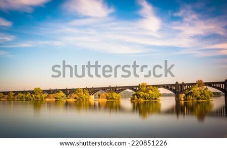 Long exposure of the Veterans Memorial Bridge over the Susquehanna River, in Wrightsville, Pennsylvania. - stock photo