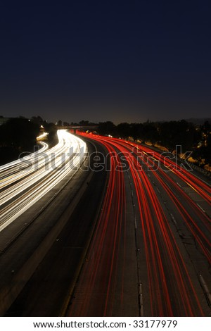 Long Exposure of Traffic at Dusk on the 5 Freeway in Los Angeles - stock photo