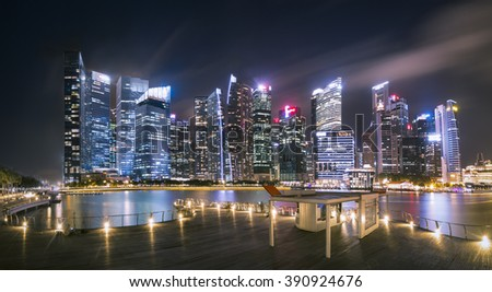 long exposure of very beautiful midnight and light up of at port and central business district Singapore  - stock photo