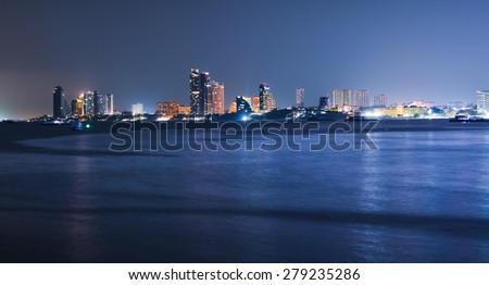 Long exposure pattaya city scape from sea view - stock photo