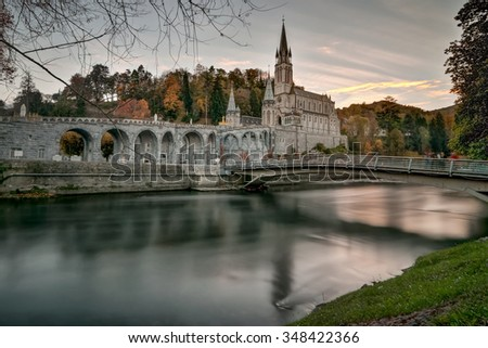 Long Exposure photo of Lourdes Sanctuary France - stock photo