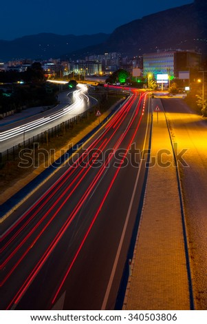 Long exposure photo of traffic on the move