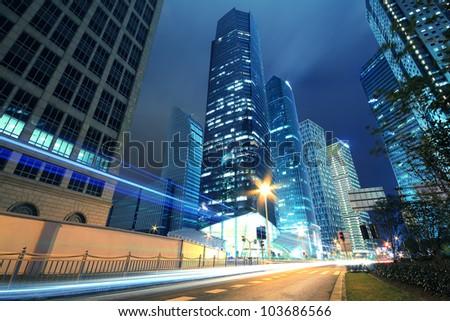 Long exposure photographs of urban night dusk Highway Traffic, Shot in Shanghai - stock photo