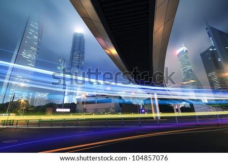 Long exposure shooting night, a busy street in Shanghai lujiazui - stock photo