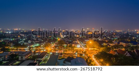 long exposure shot image of Chiang Mai the old city  view from high angle spot . - stock photo