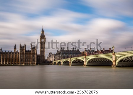 long exposure shot of London, Westminster. House of Parliament - stock photo