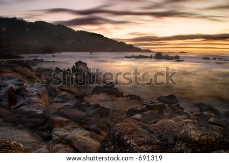 Long exposure shot taken in the coast of Galicia (Spain) - stock photo