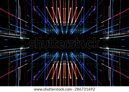 long exposure technique. multicolored lines abstract background - stock photo