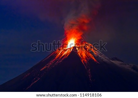 Long exposure, Tungurahua volcano with blue skyes - stock photo