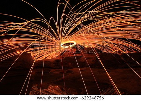 long exposure with steel wool spinning light