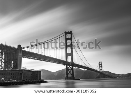 Long- Exprosure Golden Gate Bridge Black and White - stock photo