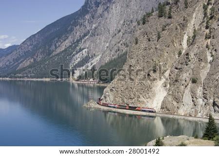 Long Freight Train, Canada - stock photo