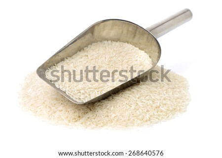 Long grain rice on white background - stock photo