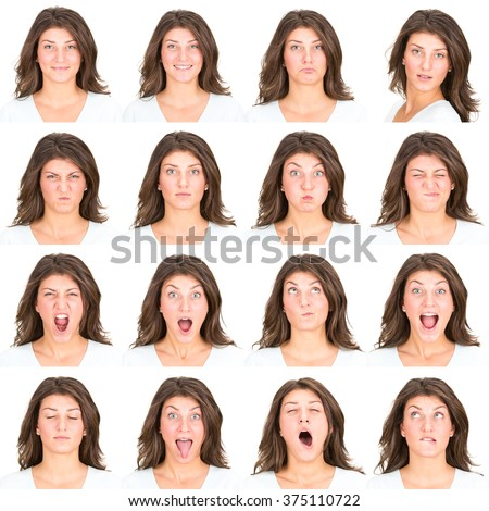 long hair brunette young casual caucasian woman collection set of face expression like happy, sad, angry, surprise, yawn isolated on white
