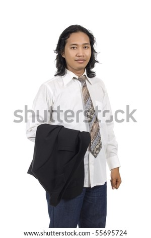 Long hair executive hold his coat isolated on white background