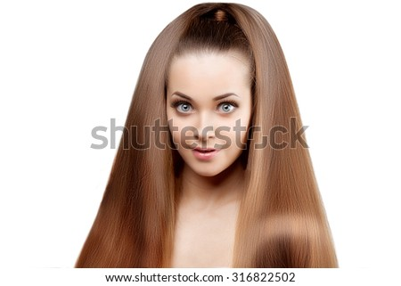 Long hair. Updo Hairstyle. Hair Salon. Fashion model with shiny hair. Woman with healthy hair girl with luxurious haircut. Hair loss Surprised girl with hair volume.  - stock photo