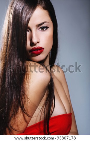 long hair woman with red lips,studio shoot