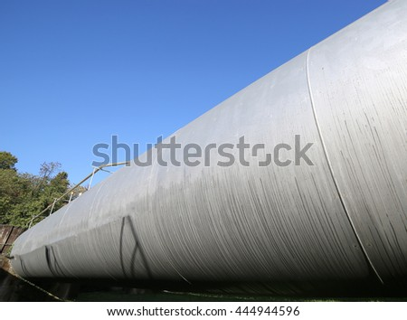 long huge pressure vessel for the storage of natural gas in the fuel refinery