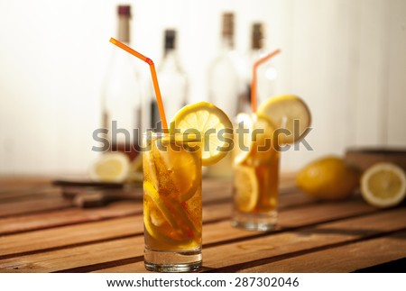 Long island ice tea cocktail isolated on white background - stock photo