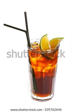 Long island ice tea coctail isolated on white background - stock photo